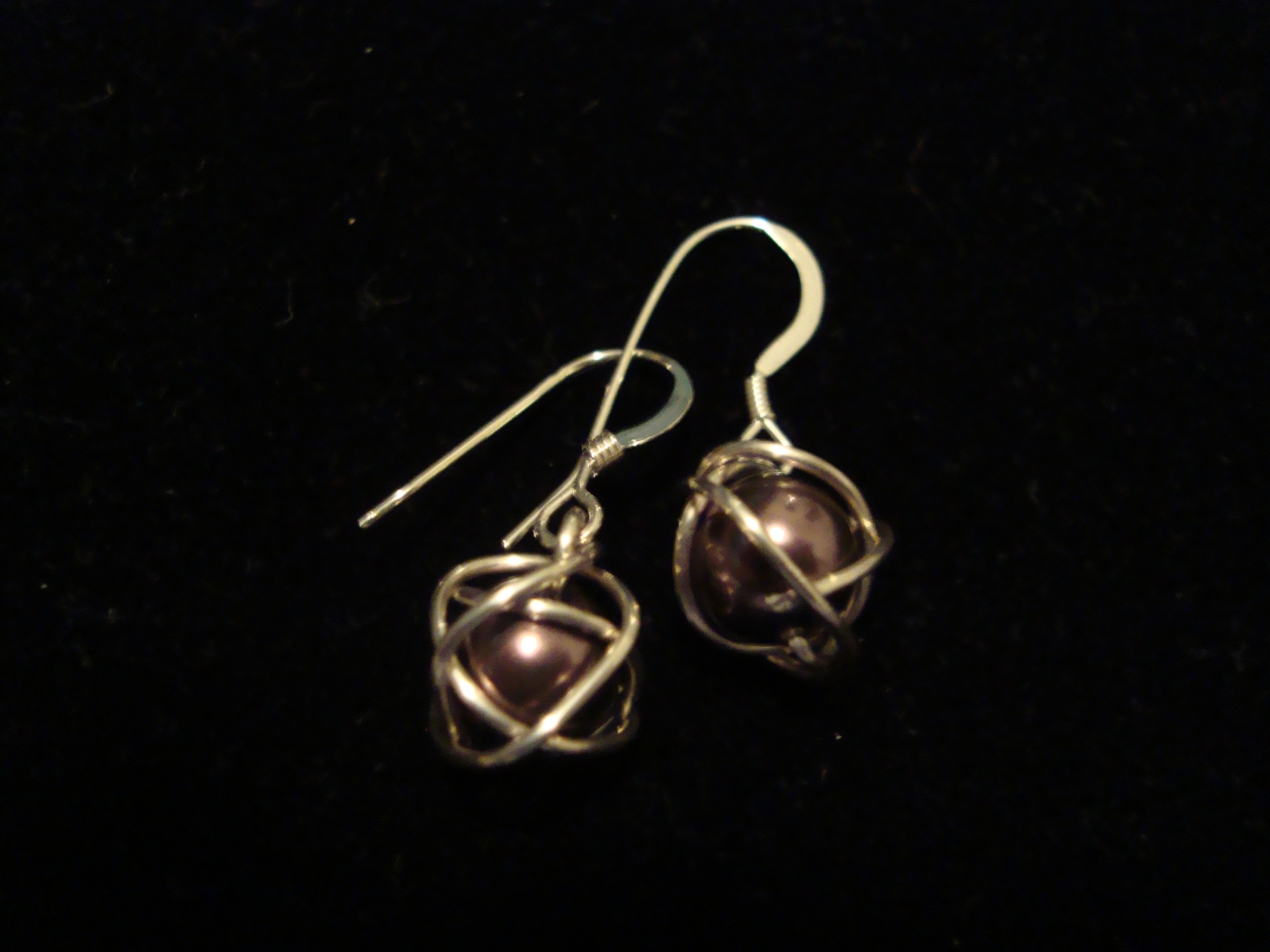 Small Wrapped Pearls on Sterling Silver French Hooks