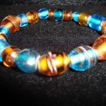 Stretchy brown and blue bracelet