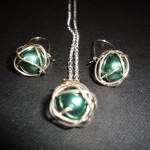 Sterling silver wrapped glass pearl earrings and necklace set