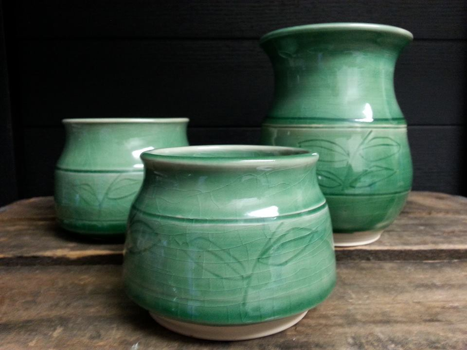 Glazed Green Vases