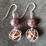 Wrapped Pearl Earrings with Natural Stones