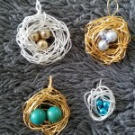 4 wire-wrapped bird nest pendants