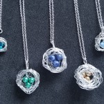5 silver bird nest necklaces on chains